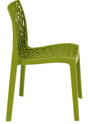 Lattice Chair In Olive Gren Side View