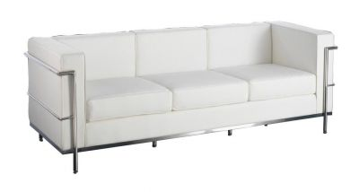 Le Corbusier Style Leather Sofas - White Leather