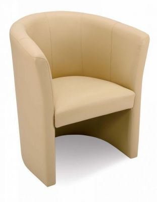 Upholstered Leather Tub Chair With Stitch Detail