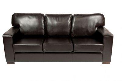 Three Seat Dark Brown Chocolate Finish Leather Sofa