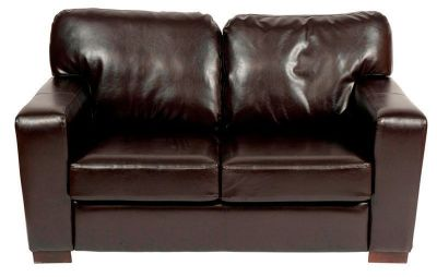 Chunky Dark Brown Two Seat Leather Sofa
