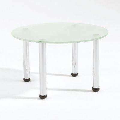 Round Glass Coffee Table Four Chrome Tube Legs