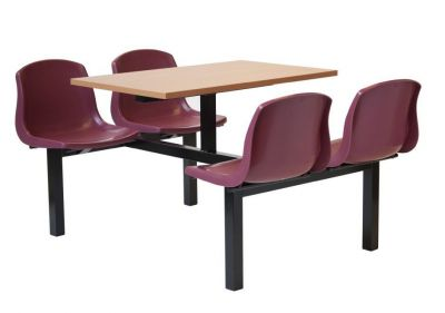 All In One Red Chair Fast Food Unit With Table