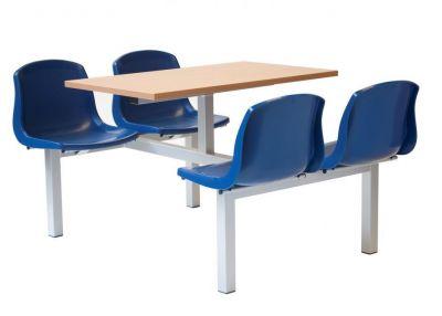 Silver Fully Welding Fast Food Unit Blue Plastic Seats