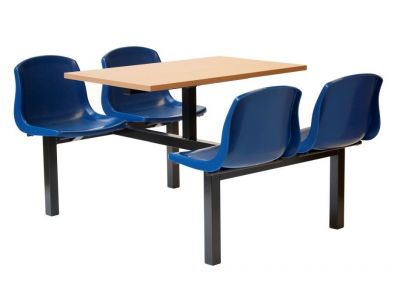 Value Blue Fast Food Seating With Joint Table