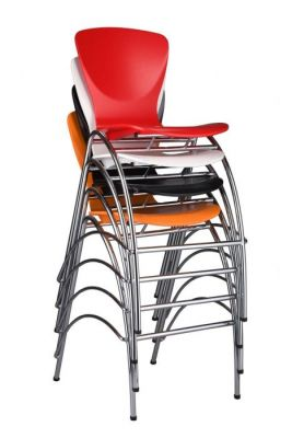 Stacking Colour Seat Barstool Chrome Wire Frame