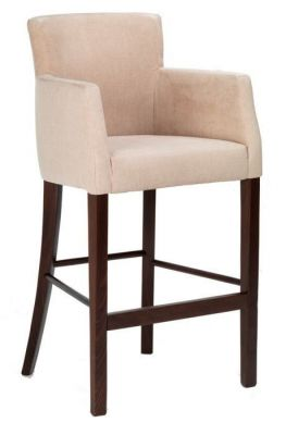 Upholstered Brastool In Faux Leather And Wood Frame