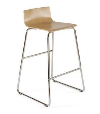Designer Stool With Chrome Sled Base And Wood Finish Seat