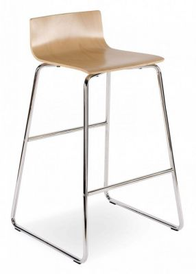 Slimline Wood Finish Seat And Chrome Base PBarstool