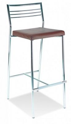 Chrome Structure Linear Bar Stool With Square Padded Seat