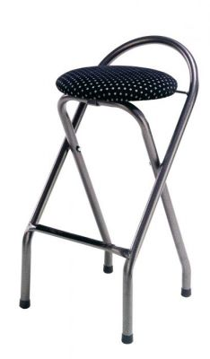 Folding Bar Stool Metal Frame And Padded Stool