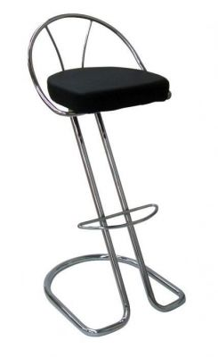 Z Shape Barstool With Black Vinyl Cushion Seat Chrome Frame