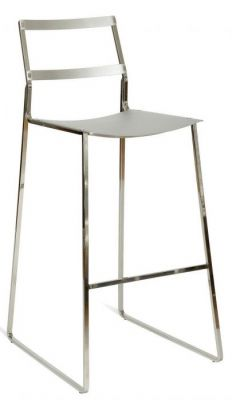 Slimline High Stool Black Or Silver Finish With Sled Base