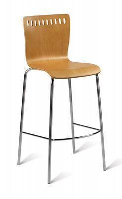 Beech Finish Seat Designer Barstool Chrome