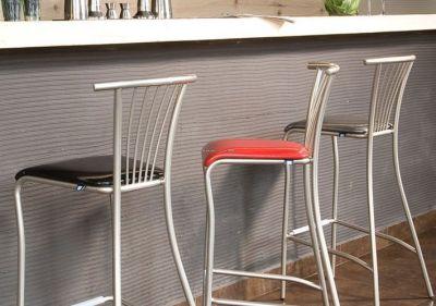 Slimline Design Metal Barstool Faux Leather Seat