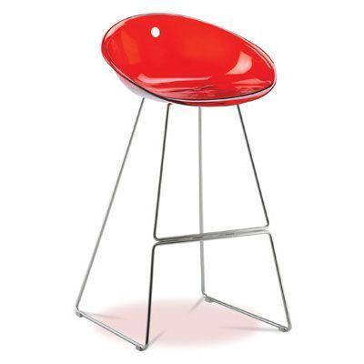 Italian Designer Barstool With Bowl Shape Acrylic Colour Seat