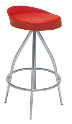 Red Seat Upholsered Barstool With Four Chrome Legs And Round Footrest