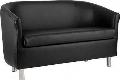 Tritium Black Faux Leather Sofa