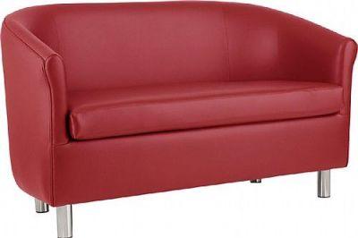 Tritium Red Faux Leather Sofa