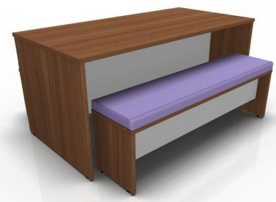 Acalon Prime Dioning Set In Walnut With Purple Seat Pad