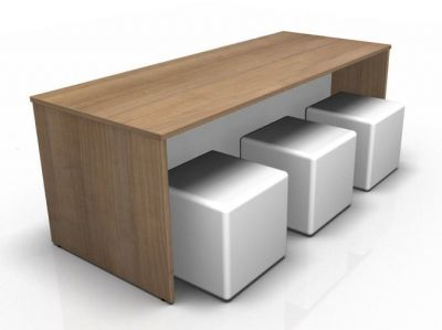 Avalon Dining Bench In Cherry With Six Jojo Cubes In White