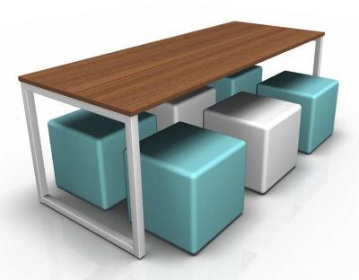 Avalon Dining Bench With A Walnut Top And Six Jojo Cubes In Blue& White