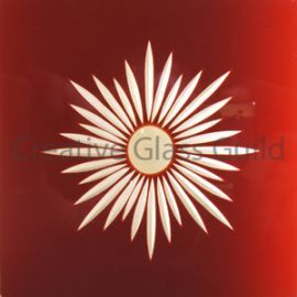 Etched Glass - Brilliant Cut Star Burst Ruby