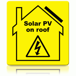 Solar PV on Roof Label (100x100mm)