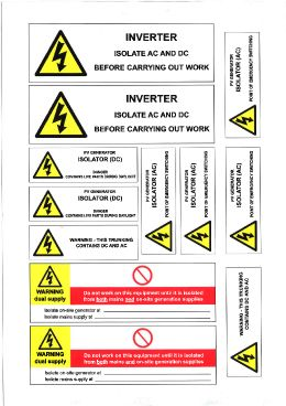 PV IS8800SA Array warning commissioning sticker (per sheet)