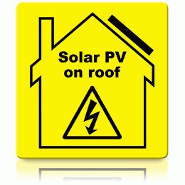 Solar PV on Roof Label (72x72mm)