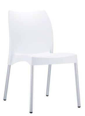 Babatti General Purpose Chair In White With Silver Legs, Suitable For A Wide Range Of Commercial Uses
