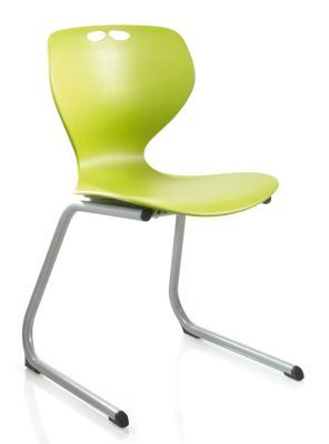 Matal Reverse Cantilever Multipurpose Chair From The Side Stacked On A Table