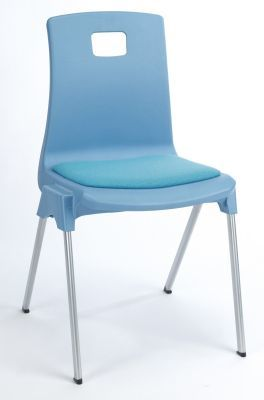 Stylus Poly Education Chair With Seat Pad In Baby Blue From An Angle