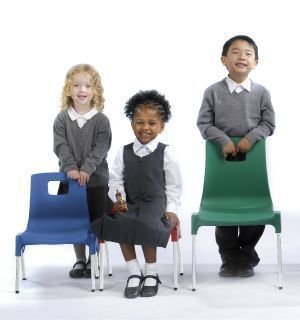Stylus Poly Education Chair With Seat Pad With Students In Green And Blue