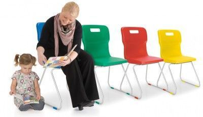 Titan 4 Leg Classroom Chair In Multiple Colours With Student And Teacher