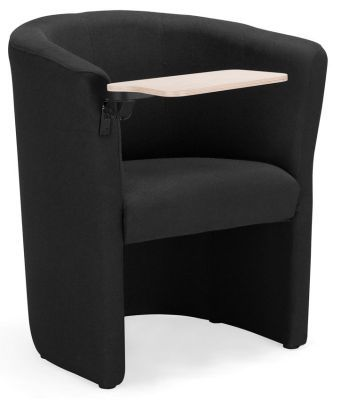 Club TE Fabric Tub Chair With Writing Tablet In Black