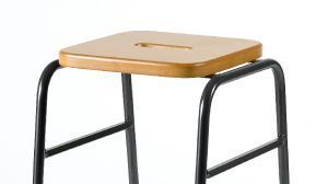 Series 25 Stacking High Stool In Beech And Black Frame