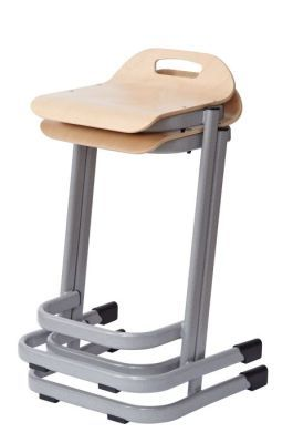 35 Series High Stools In Beech With Grey Frame