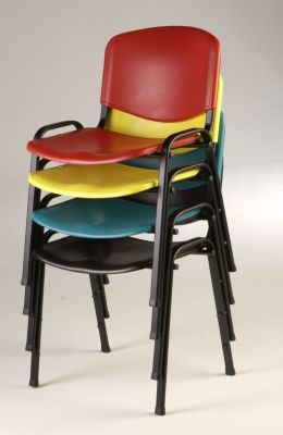 Stack Of Tommy School Chairs In Black,green,yellow And Red