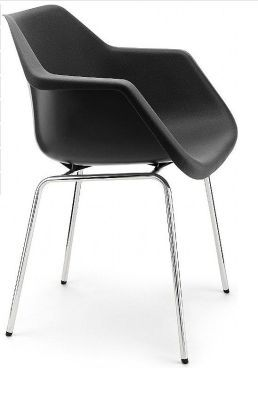 Robin Day Classic Poly Chair Side Viewe Black