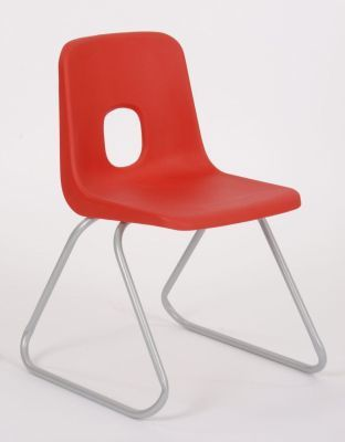 Ethel Red Poly Chair With A Silver Skid Frame