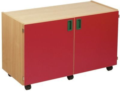 Smartie 18 Mobile Classroom Cupboard Wtih Red Doors
