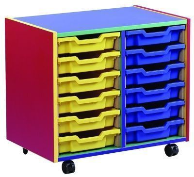 Colour My World Multi Coloured 12 Shallow Tray Unit