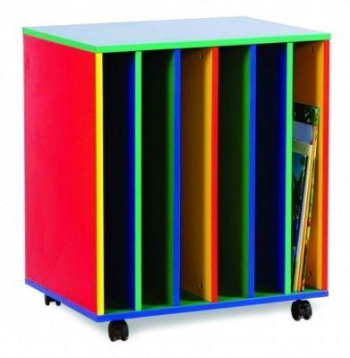 Colourful 6 Slot Big Book Holder With Castors