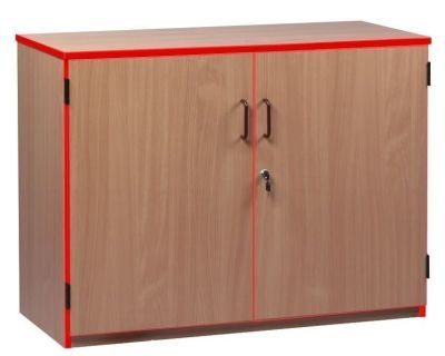 Wooden Coloured Edge Stock Cupboards With Red Trim