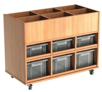 Beech Busybase Mobile Book And Tub Storage With Clear Trays