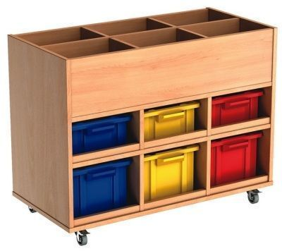 Beech Busybase Mobile Book And Tub Storage With Coloured Trays