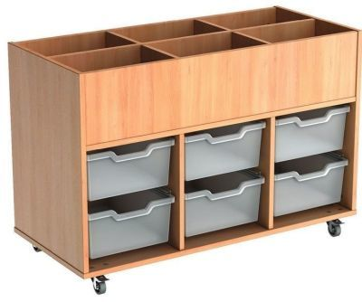 Mobile Busybase Mobile Book And Tray Storage With Deep Transparent Trays