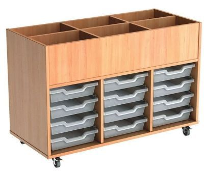 Mobile Busybase Mobile Book And Tray Storage With Shallow Transparent Trays
