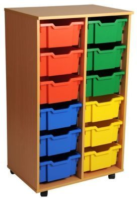 Aztec Double 6 High Deep Tray Classroom Storage Unit With Drawers